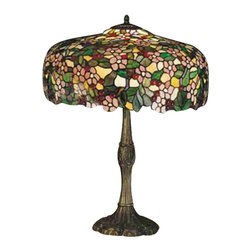 """Meyda Tiffany - 28.5""""H Tiffany Cherry Blossom Table Lamp - Cardinal Red jewel cherries glisten between Rosy Pink flowers and Verdant Green leaves in our version of the Tiffany Studio's cherry blossom. The cascading blooms and fruit form the undulating edge of this colorful and intricately patterned stained glass shade. This lovely shade rests on a Mahogany Bronze hand finished table lamp base."""