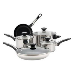 Farberware Cookware - FW 12pc Cookware Set SS - Farberware High Performance Stainless Steel 12-Piece Cookware Set - Includes 1-Quart and 2-Quart Covered Saucepans  5-Quart Dutch Oven  8-inch Aluminun nonstick Skillet and 4 Prestige tools - Slotted Spoon  Slotted Turner  Solid Spoon  This item cannot be shipped to APO/FPO addresses. Please accept our apologies.