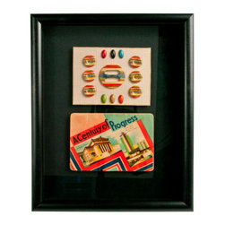 "Salvatecture Studio - Framed Vintage French Needle Case and Button Card - Embrace the past with this vintage French needle case and button card in a series of vibrant hues. Tucked inside a black wood frame and protected behind plexiglass, the Art Deco accessories are mounted on a black mat that draws attention to this ""magnifique"" collectible."