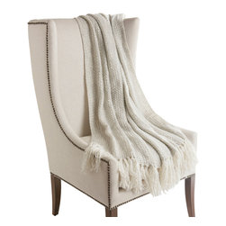"Best Home Fashion - Wool Knit Throw - 50"" x 60"", Light Grey - CHAIR NOT INCLUDED."