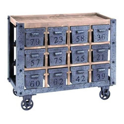 Art Furniture - Side tables, Chests, Trunks, Nightstands - Vintage Portable Storage Cart With Numbered Drawers