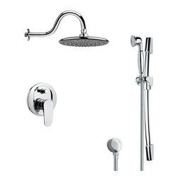 Remer - Sleek Polished Chrome Rain Shower Faucet Set - Single function shower faucet.