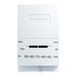 HONEYWELL - HONEYWELL T-STAT HEAT/COOL - Honeywell -- manual control thermostat provides effective temperature control for gas, oil or electric heating and air conditioning equipment. Slide lever control for temperature adjustment and switching control for system operation. Mount on the wall a standard junction box. White. Min. Order: 1 EA