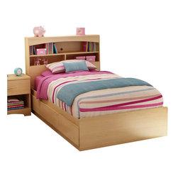 South Shore - South Shore Shiloh Kids Twin Bookcase Storage Bed Set in Natural Maple Finish - South Shore - Beds - 3113212098PKG - South Shore Shiloh Kids Twin Bookcase Storage Bed Set in Natural Maple Finish