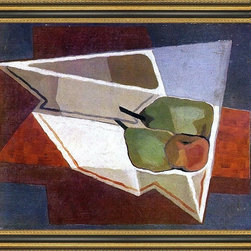 """Art MegaMart - Juan Gris Fruit with Bowl - 16"""" x 20"""" Framed Premium Canvas Print - 16"""" x 20"""" Juan Gris Fruit with Bowl framed premium canvas print reproduced to meet museum quality standards. Our Museum quality canvas prints are produced using high-precision print technology for a more accurate reproduction printed on high quality canvas with fade-resistant, archival inks. Our progressive business model allows us to offer works of art to you at the best wholesale pricing, significantly less than art gallery prices, affordable to all. This artwork is hand stretched onto wooden stretcher bars, then mounted into our 3 3/4"""" wide gold finish frame with black panel by one of our expert framers. Our framed canvas print comes with hardware, ready to hang on your wall.  We present a comprehensive collection of exceptional canvas art reproductions by Juan Gris."""