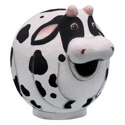 Songbird Essentials - Cow Gord-O Birdhouse - Songbird Essentials adds color and whimsy to any garden with our beautifully detailed wooden birdhouses that come ready to hang under the canopy of your trees. Hand-carved from albesia wood, a renewable resource, each birdhouse is hand painted with non-toxic paints and coated with polyurethane to protect them from the elements. By using all natural and nontoxic components Songbird Essentials has created a safe environment complete with clean-out for our feathered friends.