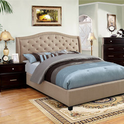 Furniture of America - Furniture of America Therise Taupe Fabric Upholstered Platform Bed - Treat yourself to a modern and inviting platform bed with this fine example of craftsmanship. The platform design accentuates the rising curve of the button tufted headboard while the ivory upholstery keeps the overall appearance clean and smooth.