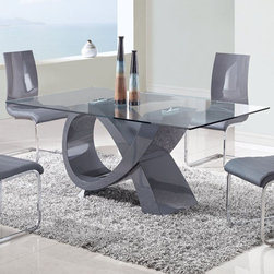 Global Furniture - Rectangular Glass Dining Table - D989DT - Rectangular shaped tempered clear glass top