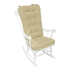None - Cream Microfiber Reversible Rocking Chair Jumbo-size Cushion Set - This fully reversible cushion set features a boxed, corded edge trim and four circle tack design. Both cushions are fully tufted and have attached string ties.