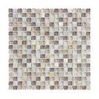 "Glass & Stone Mosaic - Ceramic Tileworks - Bliss Glass & Stone Mosaic Tile - 5/8""x5/8"" Cotton Wood"