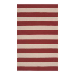 Rain Stripe Rug - Red, 2' X 3' - Broad stripes of your chosen color alternate with a neutral parchment hue in the transitional Rain Stripe Rug, a luxury floor covering for decor in a range of styles from nautical to minimalist to global. This area rug's medium pile feels rich underfoot. Traditionally hand-hooked and crafted from quality synthetic fibers to endure use outdoors or in, the rug comes in lush Carnelian red, charming Stormy Sea blue, burnt Espresso and quiet Sage Green.