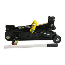 Buffalo Tools - Black Bull Two Ton Trolley Floor Jack - Change the tires and perform standard maintenance on your vehicle at home with the help of the Black Bull Two Ton Trolley Floor Jack. The 15 inch wheel base features a 360 degree swivel saddle so you can get stable and safe contact with the load you're lifting. Two rear 360 degree swivel ball bearing casters, and two front wheels make this Trolley Floor Jack easy to move from one wheel to the next, saving your back. The heavy gauge reinforced steel frame has a weight bearing capacity of 4,000 lbs. With a lifting height of 5 to 12 inches, the Black Bull Two Ton Trolley Floor Jack can stabilize or lift most cars, trucks, SUVs, trailers or RVs.