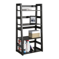 Convenience Concepts - Convenience Concepts Storage X-014131 - Modern and clean lines on the 4 Tier Trestle Bookcase make a great addition to any home or office. In a design that will fit with almost any d&#233:cor, and featuring spacious open shelves, you'll be able to store anything from the tallest of books to the smallest sentimentals.
