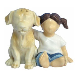 WL - 3.25 Inch Girl in Blue Jeans Holding Dog Salt and Pepper Shakers - This gorgeous 3.25 Inch Girl in Blue Jeans Holding Dog Salt and Pepper Shakers  has the finest details and highest quality you will find anywhere! 3.25 Inch Girl in Blue Jeans Holding Dog Salt and Pepper Shakers  is truly remarkable.