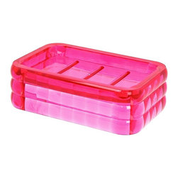 Gedy - Decorative Pink Soap Holder - Stylish countertop or vanity soap holder made of thermoplastic resins with a fuchsia finish.