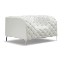 ZUO MODERN - Providence Arm Chair White - Like a grand piece of art, the Providence set dramatically changes any room. The set is wrapped and tufted in a leatherette with chrome legs.