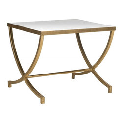 Safavieh - Maureen Accent Table - The Maureen Accent Table brings instant charm and grace to any setting. Crafted with gold-leafed iron legs and mirrored tabletop, it is a noble addition to the living room or boudoir.
