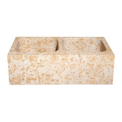 The Allstone Group - KF33DB Sandstorm Honed Kitchen Sink - Natural stone strikes a balance between beauty and function. Each design is hand-hewn from 100% natural stone.  Allstone farmhouse or apron sinks are very versatile.  They can be installed flush, above or below your countertop depending on what you want to achieve.  They are also suitable for waste disposal units or basket strainer waste
