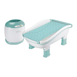 Babys Journey - Babys Journey Comfy Cozy Tub and Towel Warmer Multicolor - 6010 - Shop for Bath Tubs and Bathers from Hayneedle.com! If you don't want to make the other newborns jealous just don't refer to the Babys Journey Comfy Cozy Tub and Towel Warmer as your baby's new spa. It would be easy to make that mistake when your baby gets to enjoy a relaxing bath followed by a warm towel. The roomy tub features adjustable legs to give Mom and Dad the perfect height for bath time and the patented roller-sling cradles and support infants or retracts and easily removes to make more room in the bath for active toddlers. When bath time is over you just throw their favorite dinosaur-hooded towel into the towel warmer and press start. By the time you're done washing up your little one will have a perfectly toasty warm towel waiting for them. The design is crafted from durable plastic that's portable and easy to clean.About Baby's JourneyThe Baby's Journey team has a diverse background that includes a designer from Hasbro's G.I. Joe line and a board of directors with a combined total of over 20 000 changed diapers. They know what parents need because they're all parents who've needed the kind of products that Baby's Journey delivers every day. By using innovative processes and a bit of creativity in everything they do Baby's Journey produces unique and effective everday items like changing pads bathing accessories and travel items that make life with a new baby as enjoyable as it ought to be.