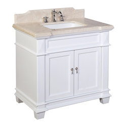 Kitchen Bath Collection - Elizabeth 36-in Bath Vanity (Crema Marfil/White) - This bathroom vanity set by Kitchen Bath Collection includes a white cabinet with soft-close drawer and self-closing door hinges, Spanish Crema Marfil marble countertop with stunning beveled edges (an incredible 1.5 inches thick at the edge!), undermount ceramic sink, pop-up drain, and P-trap. Order now and we will include the pictured three-hole faucet and a matching backsplash as a free gift! All vanities come fully assembled by the manufacturer, with countertop & sink pre-installed.