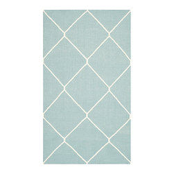 Safavieh - Dhurries Light Blue and Ivory Rectangular: 5 Ft. x 8 Ft. Rug - - This distinctive piece is both stylish and incredibly soft to the touch with bold rich colors that complement any room. Flat-woven by hand in India  - Pile Height: 0.25  - Construction: Flatweave  - Shedding is a normal occurrence and will reduce over time with frequent vacuuming. It is also recommended that you vacuum regularly to prevent dust and crumbs from settling into the roots of the fibers. AVOID DIRECT AND CONTINUOUS EXPOSURE TO SUNLIGHT. USE RUG PROTECTORS UNDER THE LEGS OF HEAVY FURNITURE TO AVOID FLATTENING PILES. DO NOT PULL LOOSE ENDS, CLIP THEM WITH SCISSORS TO REMOVE. TURN CARPET OCCASIONALLY TO EQUALIZE WEAR. REMOVE SPILLS IMMEDIATELY ; IF LIQUID, BLOT WITH CLEAN, UNDYED CLOTH BY PRESSING FIRMLY AROUND THE SPILL TO ABSORB AS MUCH AS POSSIBLE. FOR HARD TO REMOVE STAINS, PROFESSIONAL RUG CLEANING IS RECOMMENDED. STORE IN A DRY, WELL-VENTILATED AREA. USE OF A RUG PAD IS RECOMMENDED. Safavieh - DHU635C-5