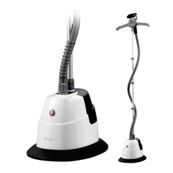 SALAV - SALAV Performance Series Garment Steamer with 360 Degree Swivel - The SALAV Performance Garment Steamer GS06-DJ is a powerful 1500 watt garment steamer featuring a 360 degrees folding adjustable hanger which extends to perfectly fit your clothes and folds up for easy storage. The GS06-DJ also has an easy to fill, translucent water tank with 1.3L capacity that provides over 46 minutes of continuous steam and heats up in a quick 45 seconds. The double insulated hose help maintain steam temperature and regulate surface heat.  The ergonomic steam nozzle delivers strong, continuous steam to soften and straighten even the toughest fabrics.  Included accessories: Pants press attachment, Fabric brush.