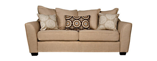 "angelo:HOME - Cooper Summer Sand Sofa - Features: -Fabric: 100% Polyester.-Transitional-styled sofa has slightly flared arms.-Reversible seat cushions.-Plush foam and Polyester fiber seat cushions.-Fiber filled back cushions.-Mixed hardwood frame is glued and corner blocked.-Innovative engineering and design enables this sofa to fit through a 10'' opening.-4 Loose back pillows and 3 decorative accent pillows.-Collection: Cooper.-Frame Finish: Medium Brown.-Upholstery Color: Khaki.-Hardware Finish: Zinc plated.-Distressed: No.-Powder Coated Finish: No.-Gloss Finish: No.-Frame Material: Wood.-Upholstery Material: Polyester.-Solid Wood Construction: No.-Number of Items Included: 1.-Water Resistant: No.-Fire Resistant: No.-Scratch Resistant: No.-Stain Resistant: No.-Mildew Resistant: No.-Fade Resistant: No.-Tear Resistant: No.-Coils or Springs: No.-Style: Transitional.-Pattern: Solid.-Removable Seat Cushions: Yes.-Removable Back Cushions: Yes.-Removable Cushion Cover: Yes.-Reversible Cushions: Yes.-Cushion or Upholstery Fill Material: Foam; Synthetic Fiber.-Foam Density: 1.8 cubic ft.-Welt on Cushions: Yes.-Tufted Cushions: No.-Rocker: No.-Massage: No.-Reclines: No.-Legs Included: Yes -Removable Legs: Yes.-Leg Material: Wood.-Leg Finish: Espresso.-Leg Glides: No..-Adjustable Headrest: No.-Upholstery Grade: C.-Nailhead Trim: No.-Cupholders: No.-Skirted: No.-Toss Pillows Included: Yes -Number of Toss Pillows Included: 3.-Toss Pillow Upholstery Material: Polyester/Polyester Blend.-Toss Pillow Upholstery Color: Brown, Tan.-Removable Toss Pillow Upholstery: Yes..-Arm Style: Flared Arms.-Back Style: Pillow Back.-Slipcovered: No.-Storage: No.-Console Included: No.-Seating Comfort: Medium.-Outdoor Use: No.-Seating Capacity: 2.-Weight Capacity: 600 lbs.-Swatch Available: Yes.-Application: Residential.-Recycled Content: No.-Eco-Friendly: No.-Product Care: Spot clean with cold water and mild soap.Specifications: -FSC Certified: No.-CARB Compliant: Yes.-ISTA 3A Certified: Yes.-Green Guard Certified: No.-SFI Certified: No.-ITTO Compliant: No.-Lacey Act Compliant: No.Dimensions: -Overall Height - Top to Bottom: 37"".-Overall Width - Side to Side: 83"".-Overall Depth - Front to Back: 38"".-Seat Height - Top to Bottom: 19"".-Seat Width - Side to Side: 64"".-Seat Depth - Front to Back: 20"".-Arms: -Arm Height - Top to Bottom: 26"".-Arm Width - Side to Side: 9""..-Clearance from Floor to Bottom of Sofa: 2.5"".-Legs: -Leg Height - Top to Bottom: 2.375"".-Leg Width - Side to Side: 3.5"".-Leg Depth - Front to Back: 3.5""..-Seat Cushion: -Seat Cushion Thickness: 8"".-Seat Cushion Width - Side to Side: 32"".-Seat Cushion Depth - Front to Back: 20"".-Seat Cushion Weight: 10""..-Toss Pillows: Yes.-Overall Product Weight: 135 lbs.Assembly: -Assembly Required: Yes.-Tools Needed: Allen Wrench.-Additional Parts Required: No.Warranty: -Product Warranty: 1 year."