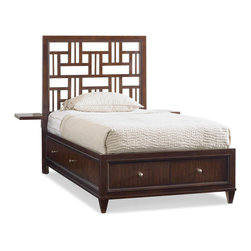 Opus Designs - Opus Designs Ludlow Youth Fretwork Storage Twin Bed - Opus Designs Ludlow Youth Footboard Storage Twin BedCollection: LudlowMacintosh-inspired fretwork with a sophisticated, geometric appeal distinguishes Ludlow, enhanced by an intriguing walnut veneer story in a rich finish. The architectural style of Ludlow is equaled only by its flexibility and function. Fretwork detail is as functional as it is fashionable, used on pieces such as storage beds, piers and bookshelves as stylish storage cubbies. Virtually any of Ludlows pieces can be bunched, including the media chest, desk, hutchk, bookshelves, storage and panel bed. Mix and match the pieces to customize and personalize your space with a sophisticated apartment or loft feel.