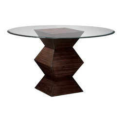 Sterling Industries - Sterling Industries 5006800 Hohner 54 Inch Round Dining Table in Zebrano - This Beautiful Accordion Like Base Is Finished In Zebrano Tone And Is Perfect As A Table Or Alone As A Sculpture Pedestal.  Dining Table (1)