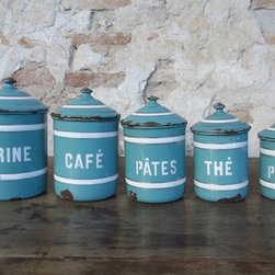 French Vintage Enamel Kitchen Canisters by Cadeaux de Catherine - This enamelware is simply made for storing coffee, sugar and spices.