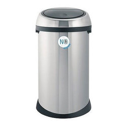 """Brabantia - 50 Liter Touch Bin Trash Receptacle - Looking for extra space? This Touch Bin from Brabantia is the very latest in elegant, easy and practical waste collection. The extra large 50 liter Touch Bin offers a unique 'soft touch' closing mechanism. One touch and the dampened hinge opens the trash can lid automatically and silently. One simple push of your finger and it's shut again. Durable and practical, all Touch Bins have a removable steel lid. Features: -Soft touch opening and closing mechanism . -Extra large opening (10. 4"""" diameter) lets you empty a dustpan without spilling -Fire resistant . -Sturdy carrying handle . -Comes with Brabantia's 10 year guarantee -Overall dimensions: 27.75"""" H x 15.74"""" W x 15.74"""" D"""