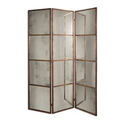 Uttermost - Avidan Unique Antiqued Gold Leaf Mirror - This mirrored screen features a metal frame finished in heavily antiqued gold.  Mirrors are antiqued.