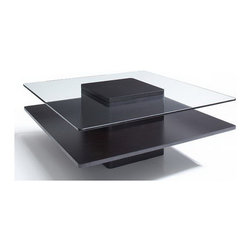 Jesper Office Furniture - 2000 Series Square Wood/ Glass Coffee Table in Espresso - Features: