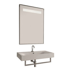 "WS Bath Collections - Cento 3532 Wall Hung or Counter Top Ceramic Sink 27.6"" x 17.7"" - Cento by WS Bath Collections Bathroom Sink 27.6 x 17.7, Designed by Marc Sadler of Italy, wall hung or counter top installation, in ceramic white"