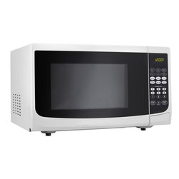 Danby - 700W Microwave 0.7Cu.Ft, 10 Power Levels, Oval Door Design - The Danby DMW7700WDB 0.7 Cu. Ft. 700W Countertop Microwave Oven, in white, is not only practical and economical, it is stylish too. It features 700 watts of cooking power with 10 power levels and a removable 10-inch glass turntable. With simple one-touch cooking for 6 popular uses plus 3 specialty programs, most meals will be as simple as selecting the right setting and waiting a few moments for your food to be done. Plus it is well suited for the dorm room, office, cottage or kitchen.0.7 cu. ft. capacity microwave oven.