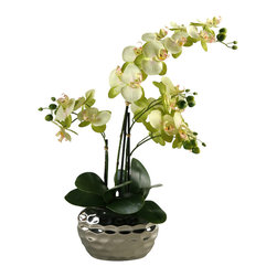 D&W Silks - D&W Silks Phaleanopsis Orchid in Mirrored Planter - Dimpled contemporary ceramic planter with mirrored finish with multi pale green phaleanopsis Orchids and foliage.