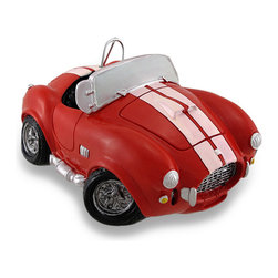 Zeckos - Vintage Style Red and White AC Cobra Coin Bank Race Car Piggy Bank - This classic AC Cobra themed coin bank in not only a must-have addition to the homes of classic car enthusiasts, it's also a fun accent in children's rooms that helps to encourage a healthy saving habit It's made from cold cast resin with a hand-painted bright red finish with white racing stripes reminiscent of yesteryear There is a coin slot in the trunk, and it easily empties via a twist-off plug in the bottom. Though it's not quite as large as its life-size cousin, this 6.5 inch (17 cm) long, 3 inch (8 cm) high, 4.75 inch (12 cm) wide Cobra car bank will have you racing straight to the bank It's a great gift for any vintage vehicle fans both young, and young at heart sure to be loved