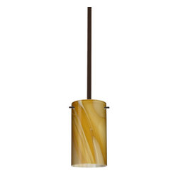 "Besa Lighting - Besa Lighting 1TT-4404HN Stilo 1 Light Cord-Hung Mini Pendant - Stilo 7 is a classic open-ended cylinder of handcrafted glass, a shape that will stand the test of time. This unique decor is handcrafted, with layered swirls of yellow-amber and golden-brown against white, finished to a high gloss. It's classic swirl pattern and high gloss surface has a truly florid gleam. Honey is a hand-blown glass designed to have a shiny and polished finish. The glass is gathered and rolled into shape a unique pattern is formed that cannot be replicated. This blown glass is handcrafted by a skilled artisan, utilizing century-old techniques passed down from generation to generation. Each piece of this decor has its own unique artistic nature that can be individually appreciated. The stem pendant fixture is equipped with an adjustable telescoping section, 4 connectable stem sections (3"", 6"", 12"", and 18"") and low Profile flat monopoint canopy.Features:"