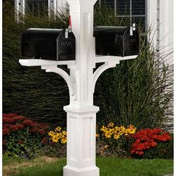 Newport Plus Double Mailbox Post - Perfect for a multi-family private drive, the Newport Plus Double Mailbox Post features a mount for two mailboxes.