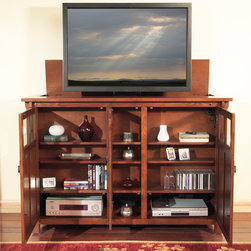 """Bungalow TV Lift Cabinet for flat screen TV's up to 55"""" - The Bungalow combines Arts & Crafts design with flat screen LCD & Plasma technology. The rich chestnut hued Bungalow draws equally from Lodge and traditional Arts & Crafts influences. Rustic details including antique pulls and see-through boxed cutouts accentuate the gorgeous solid oak casing with oak veneers; perfect for displaying books, CDs, and DVDs. Arts & Crafts furniture's style and beauty are timeless. Made for plasma and LCD TVs up to 55"""" wide by 32.5"""" tall, the Bungalow utilizes whisper-lift technology for seamless operation. The three-sectioned interior arrangement offers multiple options for storage and display."""
