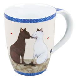 Konitz - Set of 4 Mugs Cat Couple - This loving cat couple is bordered by darling polka dot trim. A perfect mug for the cat lover.