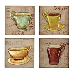 Bassett Mirror - Set of 4 Coffee Break Wall Art - Set of 4 Coffee Break Wall Art by Bassett Mirror