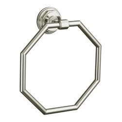 KOHLER - KOHLER K-13112-SN Pinstripe Towel Ring in Polished Nickel - KOHLER K-13112-SN Pinstripe Towel Ring in Polished NickelEvoking the classic elegance and Art Deco sensibility of the 1930s, Pinstripe(R) accessories create a crisp, refined look in any bath or powder room. The strong lines, curves and octagonal contours of this towel ring provide coordinated styling that complements the Pinstripe faucet line.KOHLER K-13112-SN Pinstripe Towel Ring in Polished Nickel, Features:• Coordinates perfectly with Pinstripe faucets