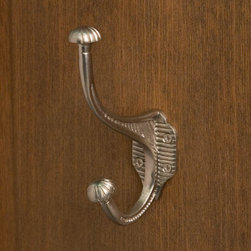 Marston Brass Double Coat Hook - With etched designs along the hook and around the knob tips, this double hook adds subtle style to any home. Mount in your entryway for coats and hats, in your bathroom for robes or towels, or even in your kitchen for dish towels and pot holders.