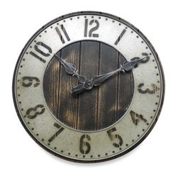 """Infiniti Group International, Inc. - Rustic Punched Metal Wall Clock - This 20"""" rustic punch-work clock has the feel of an old-time farmhouse or general store. It's made from metal, wood and MDF, and features Arabic cut-out numerals over a plank-like face."""