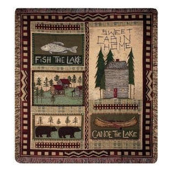 Big Bear Lodge' Country Cabin Tapestry Throw Blanket 50 Inch x 60 Inch - This multicolored woven tapestry throw blanket is a wonderful addition to your home or cabin. Made of cotton, the blanket measures 50 inches wide, 60 inches long, and has approximately 1 1/2 inches of fringe around the border. The blanket features a needlepoint-style print of cabins, canoes and black bears. Care instructions are to machine wash in cold water on a delicate cycle, tumble dry on low heat, wash with dark colors separately, and do not bleach. This comfy blanket makes a great housewarming gift that is sure to be loved.