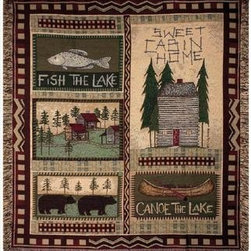 `Big Bear Lodge` Country Cabin Tapestry Throw Blanket 50 Inch X 60 Inch - This multicolored woven tapestry throw blanket is a wonderful addition to your home or cabin. Made of cotton, the blanket measures 50 inches wide, 60 inches long, and has approximately 1 1/2 inches of fringe around the border. The blanket features a needlepoint-style print of cabins, canoes and black bears. Care instructions are to machine wash in cold water on a delicate cycle, tumble dry on low heat, wash with dark colors separately, and do not bleach. This comfy blanket makes a great housewarming gift that is sure to be loved.