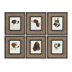 Uttermost - Uttermost Special Friends Wall Art Set of 6 55001 - Medium size:ium brown burlap mats surround the prints. Frames and fillets have a black base coat with heavy brown and taupe distressing accented with gold dry brushing.