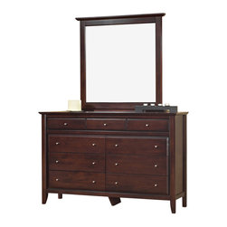 Modus Furniture - Modus City II Dresser with Mirror in Coco - The City II collection delivers the same modern chic styling as its older sibling but at a more affordable price. The group is constructed with tropical hardwoods and veneers finished in a deep Coco tone and features a padded faux leather headboard. City II is manufactured with all the same construction features that are expected of a Modus Furniture product, including sanded and stained Solid wood drawer boxes with English dovetail front and back, Full extension ball bearing drawer glides, felt lined top drawers on select pieces, and discrete metal-to-metal bed rail fittings for easy assembly and long term durability.