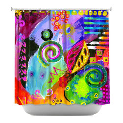 DiaNoche Designs - Shower Curtain Artistic - Crazy Abstract 1 - DiaNoche Designs works with artists from around the world to bring unique, artistic products to decorate all aspects of your home.  Our designer Shower Curtains will be the talk of every guest to visit your bathroom!  Our Shower Curtains have Sewn reinforced holes for curtain rings, Shower Curtain Rings Not Included.  Dye Sublimation printing adheres the ink to the material for long life and durability. Machine Wash upon arrival for maximum softness. Made in USA.  Shower Curtain Rings Not Included.